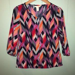 Banana Republic   silky 3/4 sleeve bright blouse